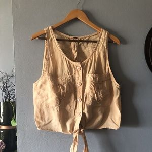 Free People Button Down Tie Front Sleeveless M